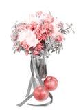 在一个花瓶的戏曲黑白花束用红色苹果 库存图片