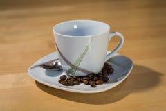 在一个茶碟的空的杯用咖啡豆 免版税库存图片
