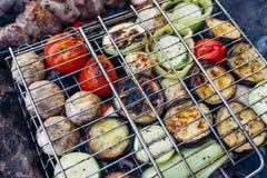 在一个草本卤汁的烤菜和肉串在格栅 库存图片
