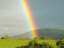 在一个草甸的彩虹视图有树和小山的 库存照片