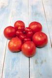 在一个蓝色木板的新鲜的红色有机蕃茄 库存照片