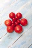 在一个蓝色木板的红色有机蕃茄 库存图片