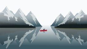 在一个蓝色湖的红色独木舟航行 库存例证