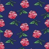 在一个蓝色背景无缝的背景减速火箭的样式的玫瑰 向量例证
