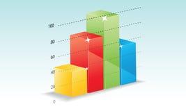 在一个蓝色背景的五颜六色的条形图 免版税库存图片