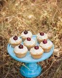 在一个蓝色蛋糕的香草杯形蛋糕站立用在上面的樱桃 免版税库存图片