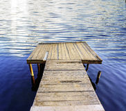 在一个蓝色镇静湖的码头,背景 免版税库存图片