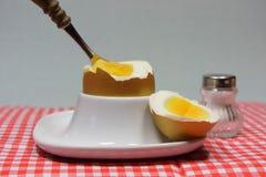 在一个蛋杯的金黄鸡蛋在红色仿造了餐巾 库存照片