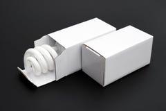在一个被打开的箱子的节能电灯泡有一个箱子的关闭了 免版税库存照片