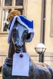 在一个被编织的帽子的马 免版税库存照片
