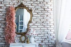 在一个被镀金的框架的镜子与卷曲蟒蛇 库存照片