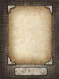 在一个被雕刻的框架的葡萄酒卡片在织品背景 免版税图库摄影