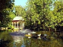 在一个装饰鸭子池塘旁边的一个华丽眺望台 图库摄影