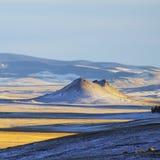 在一个谷的微型峰顶在科罗拉多晚上太阳 免版税图库摄影