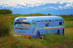 在一个象草的领域的被放弃的公共汽车 免版税库存图片