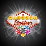 在一个赌博娱乐场题材的传染媒介例证与演奏芯片和点燃在黑暗的背景的颜色显示 库存例证