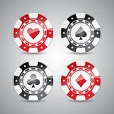 在一个赌博娱乐场题材的传染媒介例证与演奏被设置的芯片 库存例证