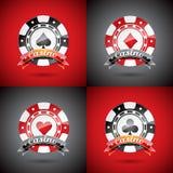 在一个赌博娱乐场题材的传染媒介例证与演奏被设置的芯片 免版税库存图片