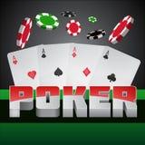 在一个赌博娱乐场题材的例证与啤牌标志和在黑暗的背景的啤牌卡片 免版税库存照片