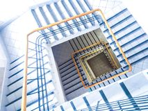 在一个轻的成螺旋形上升的方形的楼梯下的看法 向量例证