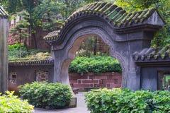 在一个道士寺庙的传统石门在中国 库存照片