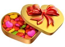 在一个配件箱的糖果作为礼品为情人节 库存图片