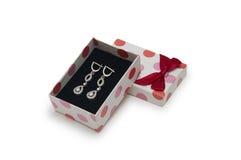 在一个配件箱的银色耳环在空白背景 免版税库存照片
