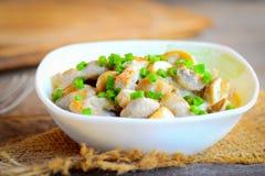 在一个酸性稀奶油调味汁的自创蘑菇 蘑菇炖与酸性稀奶油和葱在碗 凉快的素食主义者食谱 库存照片