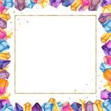 在一个金黄方形的框架的水彩水晶 库存例证