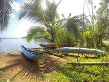 在一个金黄黄色海滩的蓝色筏lys 图库摄影