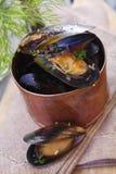 在一个铜罐的蒸的食家淡菜 免版税库存照片