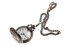 在一个链子的时钟在白色 免版税库存照片