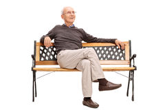 在一个长木凳的快乐的资深开会 图库摄影