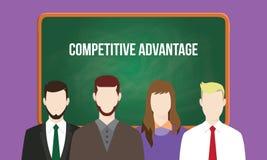 在一个队例证的竞争优势概念与在黑板写的文本 向量例证