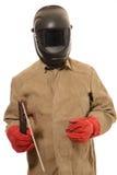 在一个防毒面具的工作者焊工有在被隔绝的背景 免版税图库摄影