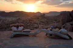 在一个阵营的流浪汉时间在Damaraland,纳米比亚 库存图片