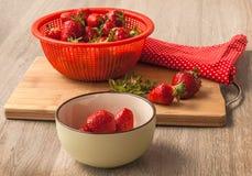 在一个陶瓷碗的莓果草莓 图库摄影