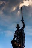 在一个雕象的暴风云在督伊德教憎侣小山在巴尔的摩,玛丽停放 免版税库存照片