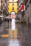 在一个雨天期间,人们在马德里 库存照片