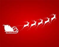 在一个雪橇的圣诞老人乘驾在鞔具 库存图片