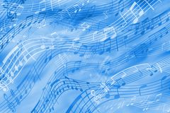 在一个音乐主题的快乐的抽象背景在蓝色口气 皇族释放例证