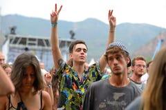 在一个音乐会的人群在小谎节日 免版税图库摄影