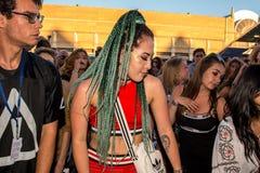在一个音乐会的人群在生波探侧器节日 库存照片