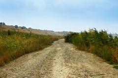 在一个领域的秋天道路与小山 图库摄影