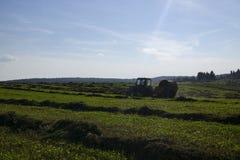 在一个领域的秸杆大包在前景 干草收获  在天空的云彩 农业农场 与培养的领域的小山和 库存照片