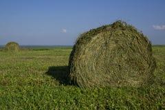 在一个领域的秸杆大包在前景 干草收获  在天空的云彩 农业农场 与培养的领域的小山和 库存图片