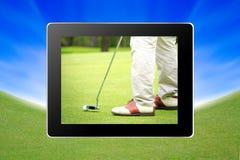 在一个高尔夫球场的一家高尔夫俱乐部片剂的 库存图片