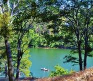 在一个鲜绿色湖的独木舟 免版税库存照片