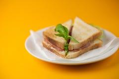 在一个黄色背景的三明治 免版税库存图片
