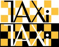在一个黑白背景出租汽车minimalistic商标的黑白出租汽车题字 库存图片